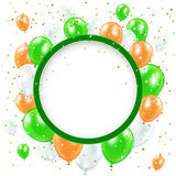 Round banner with balloons and confetti Royalty Free Stock Photo