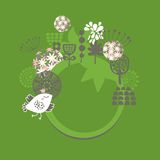 Round banner with bird in crown and flowers. Royalty Free Stock Photography