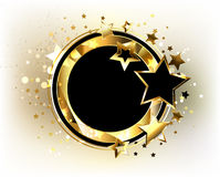 Round banner with black stars. Round, black banner with gold polygonal frame, decorated with gold and black stars on a light background. Design with gold stars royalty free illustration