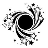 Round banner with black stars. Round black banner with black outline stars on a white background Royalty Free Stock Image