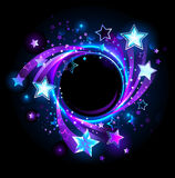 Round banner with blue stars. On the cosmic background royalty free illustration
