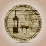 Round banner bottle of red wine, glasses and grapes on a wooden background.hand drawn Stock Photo
