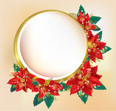 Round banner with Christmas poinsettia Stock Image
