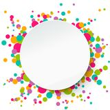 Round banner, confetti background. Applique style. Paper round banner on confetti background. Applique style, vector illustration. Template for your text Royalty Free Stock Photography