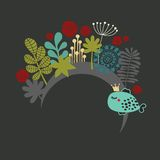 Round banner with fantastic flora. Round banner with fantastic flora and fish with crown. Vector illustration Royalty Free Stock Photos