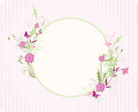Round banner with floral ornament Royalty Free Stock Image