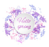 Round banner with flowers Royalty Free Stock Images