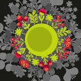 Round banner with flowers. Stock Image