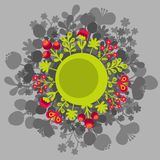Round banner with flowers. Royalty Free Stock Photos