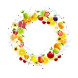Round Banner of Fresh Fruits Royalty Free Stock Photo
