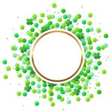 Round banner with green confetti and clover. Abstract vector round banner with green confetti and clover leaves on a white background. Design for St. Patrick`s Stock Images