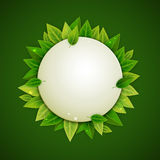 Round banner with green leaves, vector Royalty Free Stock Photo