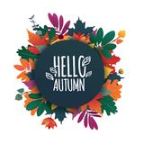 Round banner with the Hello Autumn logo. Card for fall season with white frame and herb. Promotion offer with autumnal Stock Images