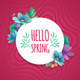 Round banner with the  Hello Spring logo.  Card for spring season with white frame and herb. Promotion offer with spri Stock Photos