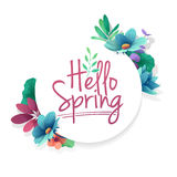 Round banner with the  Hello Spring logo.  Card for spring season with white frame and herb. Promotion offer with spri Stock Photo