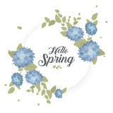 Round banner with the Hello Spring logo. Card for spring season with white frame and herb. Promotion offer with spring. Plants, leaves and flowers decoration Royalty Free Stock Images