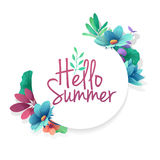 Round banner with the  Hello Summer logo.  Card for summer season with white frame and herb. Promotion offer with summ Royalty Free Stock Photography