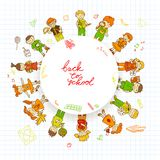 Round banner with kids. Decorative kids back to school round emblem poster with books pencils accessories background sketch doodle vector illustration Royalty Free Stock Photos