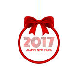 Round banner with lettering 2016 Happy new year and red bow. Vector illustration. Round banner with lettering 2017 Happy new year and red bow. Vector Christmas Stock Photo