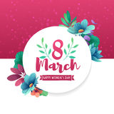 Round banner with the logo for the International Women`s Day on pink background. Flyer for March 8 with the decor o. F flowers. Invitations with frame of spring Vector Illustration