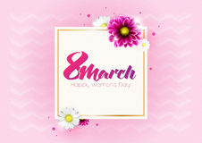 Round banner with the logo for the International Women`s Day. On sun breams background. Flyer for March 8 with the decor of flowers. Invitations with frame of stock illustration