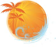 Round banner with palm trees. Round banner with palms and ocean's wave and water splash Stock Photography