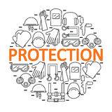 Round banner with personal protective equipment. Protection the health and the body. Stock Photo
