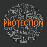 Round banner with personal protective equipment. Protection the health and the body. Vector illustration Stock Photo