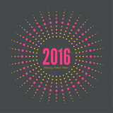Round banner with rays. Happy new year 2016. Decoration collection. frames, vintage labels. multicolored dots Royalty Free Stock Image