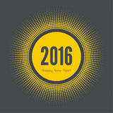 Round banner with rays. Happy new year 2016. Decoration collection. frames, vintage labels. yellow Stock Image