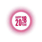 Round banner with rays. Happy new year 2018. Decoration collection. frames, vintage labels. Red Royalty Free Stock Image