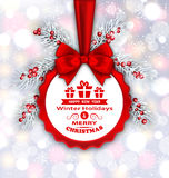 Round Banner with Red Ribbon and Bow for Happy New Year 2017. Illustration Round Banner with Red Ribbon and Bow for Happy New Year 2017 and Merry Christmas Stock Photography