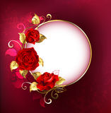 Round banner with red roses Royalty Free Stock Photo
