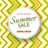 Round banner Summer sale end of season 90% discount on a vintage geometric background retro theme Summer colors Design template. Round banner Summer sale end of stock illustration