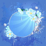 Round banner with white flowers Royalty Free Stock Photography