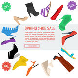 Round banner woman shoe sale Stock Images