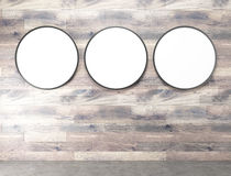Round banners. Three blank round frames on wooden wall. Concept of decoration. Mock up. 3D rendering Royalty Free Stock Photo