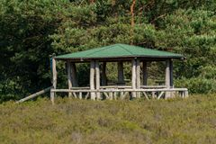 Round barbecue pavilion with green roof stock photos