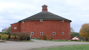 Round Barn, an exhibit at the Shelburne Museum in Vermont 4K. Founded in 1947 by Electra Webbn stock footage