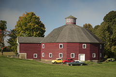 Round barn in Vermont in the fall. Peachem farm scene in Vermont Stock Image