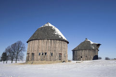 Round barns in wintertime Stock Photos