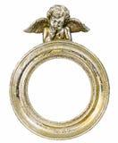 Round barokowa złocista fhoto rama z amorkiem na odosobnionym tle Obrazy Royalty Free