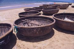 Round basket boat Royalty Free Stock Image