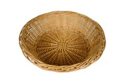 Round basket with clipping path. Round woven basket with clipping path Stock Photo