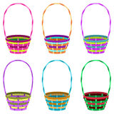 Round baskets. Colorful round baskets with handle on white background Stock Photos