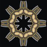 Round beautiful jewelry, medallion, brooch, decoration on neck, mandala, applique rhinestones. Stock Images