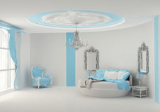 Round bed in baroque bedroom. Luxurious interior Vector Illustration