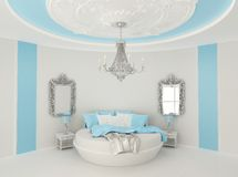Round bed in baroque interior. Ceiling decor of royal apartment. Luxurious furniture in modern interior Royalty Free Illustration