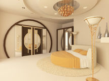 Round bed in a luxurios bedroom. Round bed in a luxurious bedroom with a suspended ceiling Vector Illustration