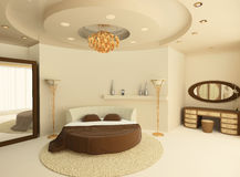 Round bed with a suspended ceiling in bedroom. Round bed with a suspended ceiling in a luxurious bedroom. Light interior Royalty Free Illustration